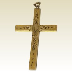 Vintage 12 K Gold Filled Etched Cross