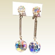 Vintage Faceted Clear Glass Dangle Earrings