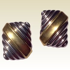Mexican Modernist Two Tone Sterling Silver Clip Earrings