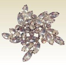 Vintage Sparkling Clear Crystal Rhinestone Rhodium Plated Large Brooch