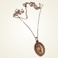 Vintage Gold Tone Miraculous Medal & Gold Filled Chain