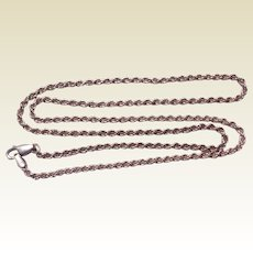 """Vintage Italian Sterling Silver 22"""" Rope Chain Necklace"""