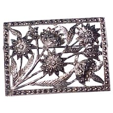 Art Deco Sterling Silver Marcasite Floral Brooch