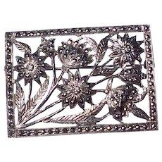Art Deco Sterling Silver Marcasite Floral Brooch