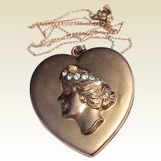 Art Nouveau Large 14 K Gold Filled Bates & Bacon Rhinestone Heart Shaped Double Photo Locket Necklace