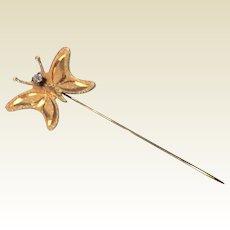 Vintage 14 K Gold Filled Rhinestone Butterfly Stick Pin