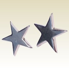 Vintage Sterling Silver Five Point Star Clip Earrings
