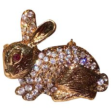 Vintage Yellow Gold Over Sterling Silver JC Ferrara Bunny Pin Pendant