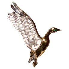 Vintage Yellow Gold Over Sterling Silver & Sterling Silver Detailed JC Ferrara Duck In Flight Pin/Pendant