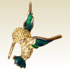 Vintage Yellow Gold Over Sterling Silver Enameled JC Ferrara Humming Bird In Flight Brooch