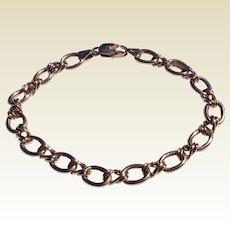 Vintage Italian 14 K Yellow Gold S Curb Link & Trace Link Charm Bracelet