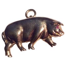 Vintage Gold Over Sterling Silver Pig Pendant