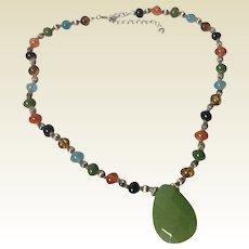 Vintage Autumn Multi Color Stone Pendant Necklace