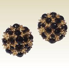 Vintage Gold Tone Metal Black Bead Screw Back Earrings