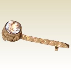 Rare 14 K Gold Sparkling Paste Halley's Comet Brooch