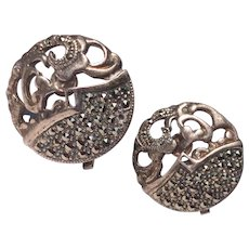 Vintage Sterling Silver Marcasite Clip Earrings