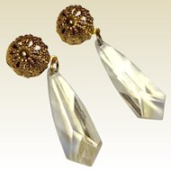 Vintage Gold Tone Metal Clear Faceted Lucite Dangle Earrings