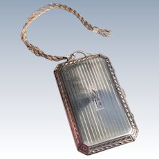 Antique Sterling Silver Engine Turned Vanity Case With Sterling Silver Chain Handle