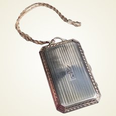 Sterling Engine Turned Vanity Case With Sterling Chain Handle