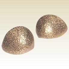 Vintage Gold Tone Metal Textured Castlecliff Clip Earrings