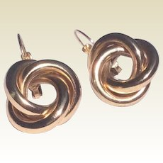 Vintage Gold Tone Metal Love Knot Earrings