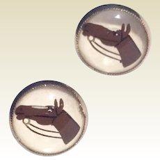 Vintage Silver Tone Metal Reverse Painted Glass Horsehead Screw Back Earrings