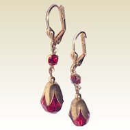 Vintage Gold Filled Faceted Ruby Red Glass & Rhinestone Dangle Earrings