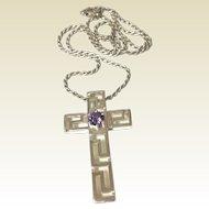 Vintage Sterling Silver & Amethyst Rhinestone Cross & Chain