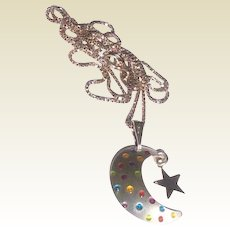 Vintage Sterling Silver Crescent Moon & Star Pendant Necklace