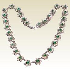 Vintage Silver Tone Metal Clear & Emerald Green Rhinestone Choker