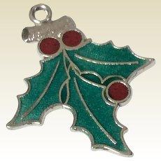 Vintage Sterling Silver Enamel Holly Leaf Christmas Charm