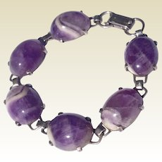Antique Arts & Crafts German 835 Genuine Amethyst Stone Bracelet