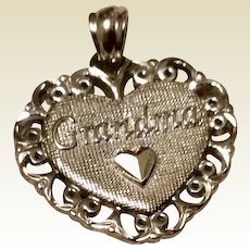 Vintage Sterling Silver Grandma Charm Or Pendant