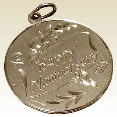 Vintage Sterling Silver Happy Anniversary Charm