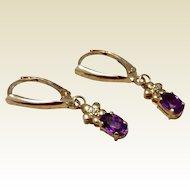 Vintage Upcycled 14 K Gold Amethyst & Diamond Dangle Earrings