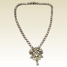 Art Deco Jay Flex Sterling Silver Clear Sparkling Rhinestone Necklace