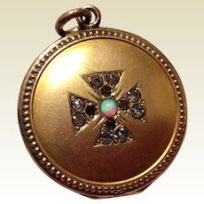 Victorian Gold Filled Opal Garnet & Clear Rhinestone Maltese Cross Locket