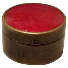 Victorian Brass  Enamel Patch Box For Chatelaine
