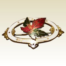 1902 Gold Tone Metal Guilloche Enamel Oval Maple Leaf Brooch