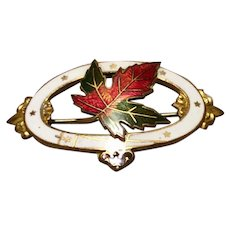 1902 Gold Tone Metal Guilloche Enamel Oval Maple Leaf Brooch