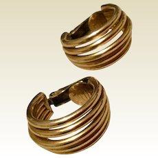 Vintage 12 K Gold Filled Hoop Earrings