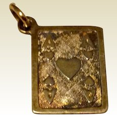 Vintage Silver Gilt Ace Of Hearts Charm