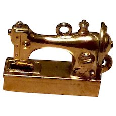 Wells Silver Gilt Sewing Machine Charm