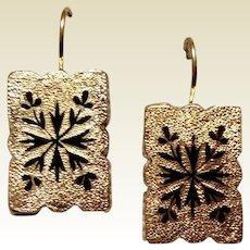 Vintage Gold Filled Black Enamel Cuff Link Earrings