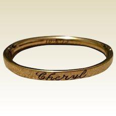 Vintage 1973 Gold Filled Child's Bangle Bracelet
