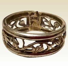 Vintage Sterling Silver Band Ring Size 7 1/4