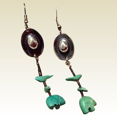 Vintage Sterling Silver Dangle Earrings Cowboy Hat And Turquoise