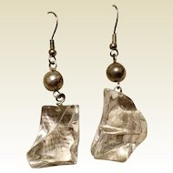 Vintage Sterling Silver Retro Lucite Dangle Earrings