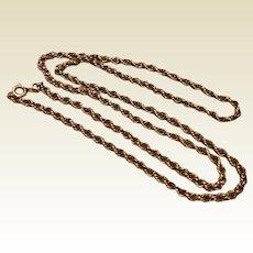 "Vintage 12 K Gold Filled Rope Chain 24"""