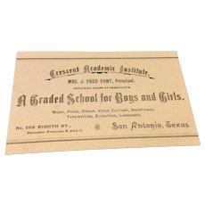 Victorian Crescent Academic Institute Calling Card